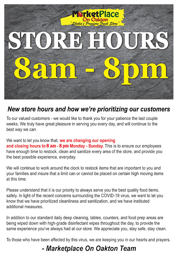 Market Place On Oakton New Store Hours
